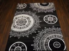 NICE GLITTER RANGE RUG HAND CARVED APROX 6X4FT 120X170CM SILVER/BLACK GREAT RUG